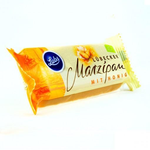 Marzipan kaufen:Ein Riegel veganes Lübecker Honigmarzipan mit hohem Mandelanteil