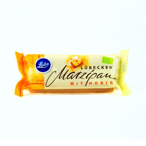 Ein Marzipanriegel Lübecker Marzipan mit Honig.