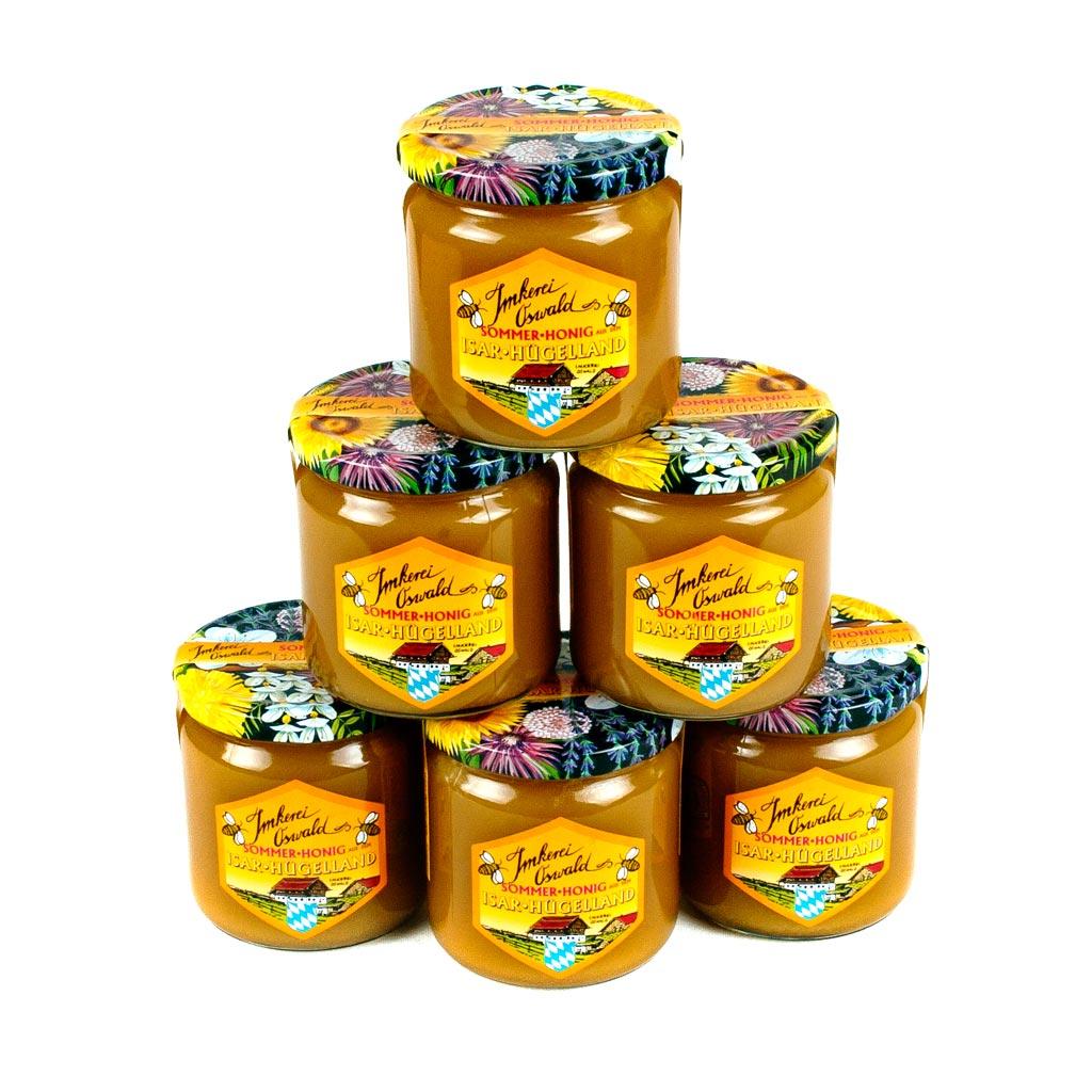 Landshuter Honig / Biohonig Honigpyramide aus sechs Gläser Biohonig.