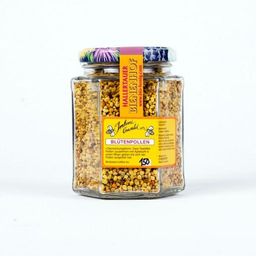 Ein 150g Glas Blütenpollen mit gelbem Etikett und Siegelstreifen vom Hallertauer Bienenhof bio-honig.com.