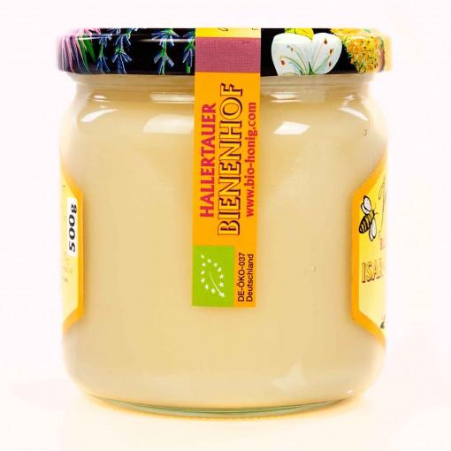 Ein 500g Glas Deutscher Bienenhonig der Sorte Blütenhonig.