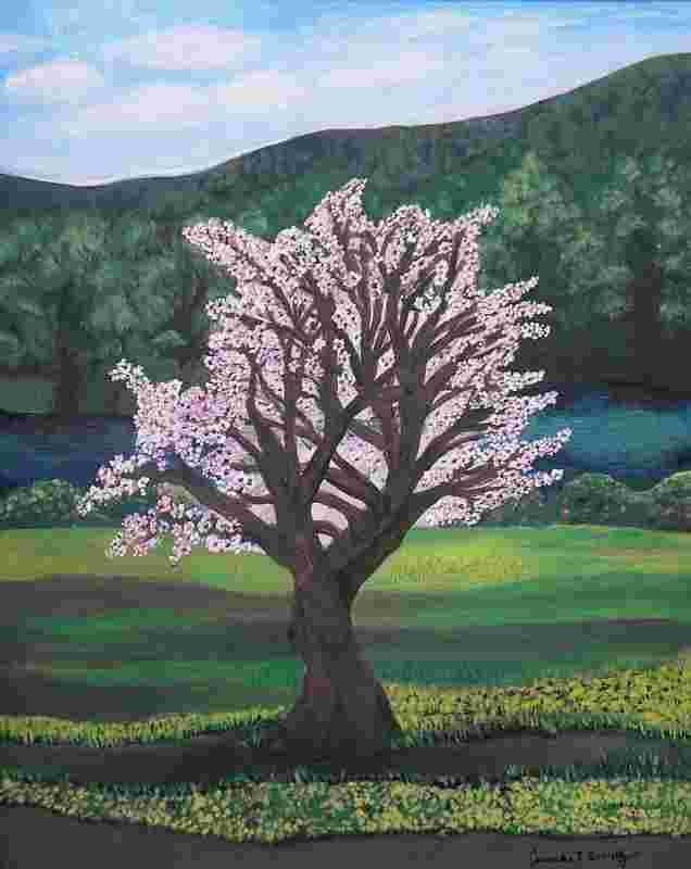 Blühender Mandelbaum im Heiligen Land.