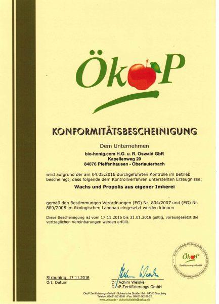 Eine Urkunde über die Propolis und Bienenwachs Qualität von Imkerei Oswald.