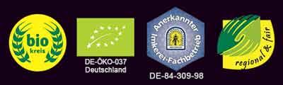 Bio Honig Zertifizierungen Logos 2018