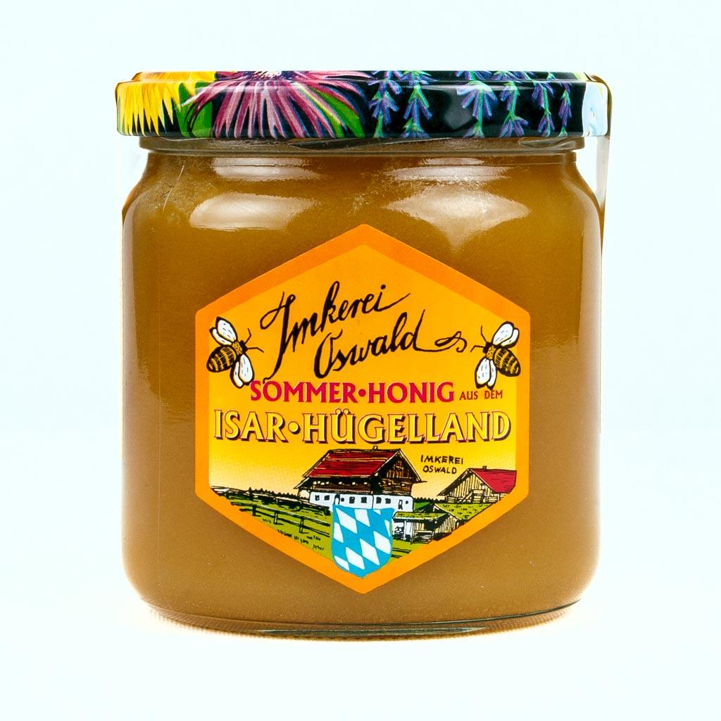 Honig Online kaufen bei www.bio-honig.com: Ein Glas dunkelgelben bis bräunlichen Sommer-Honigs.