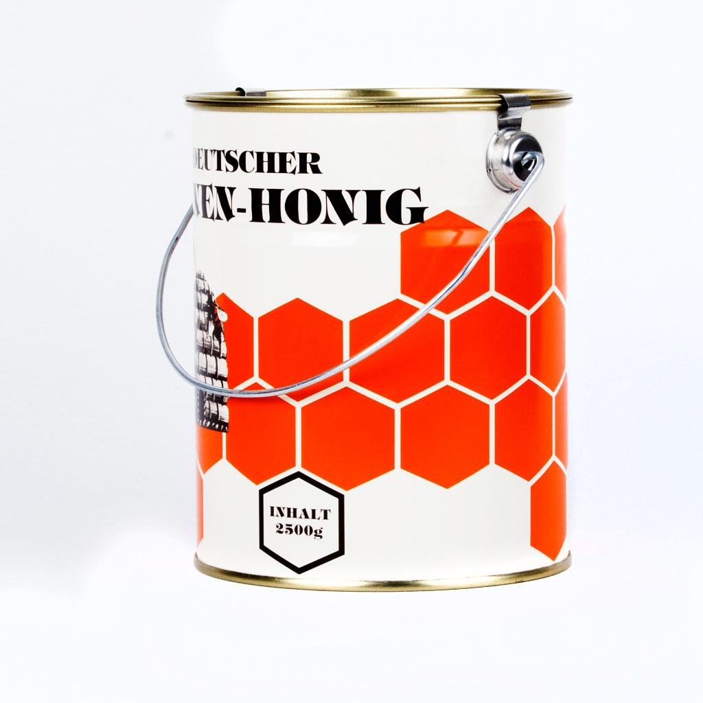 Ein bunt lackiertes Honigeimerchen im traditionellen Deutschen Imker Design.