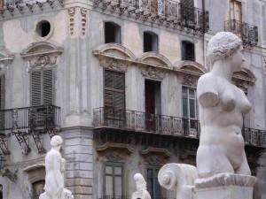 Brunnen der Versuchung, Palermo, Sizilien, Italien.