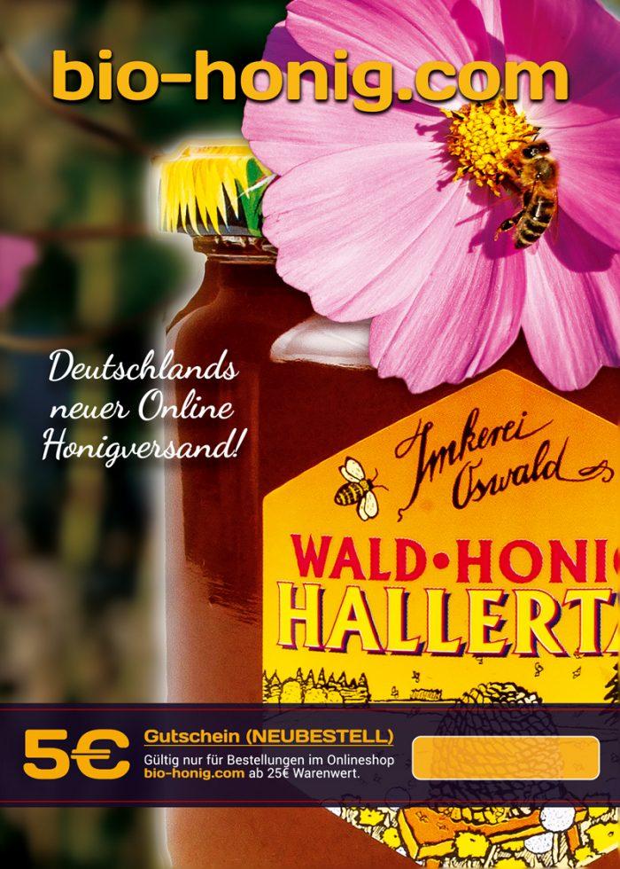 Gutschein Flyer Wert 5€ mit Abbildung eines Glases Waldhonig und einer Kosmeenblüte mit Biene.