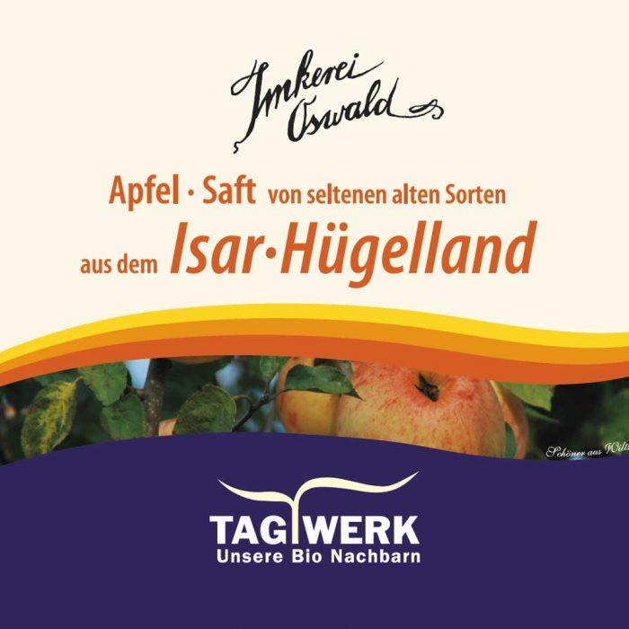 Apfelsaft Etikett von Tagwerk Bienenhof Imkerei Oswald.