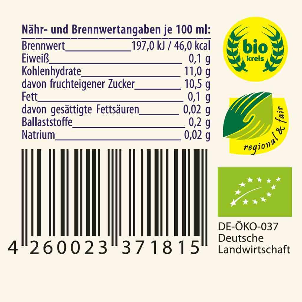 Nähr- und Brennwertangaben von Imkerei Oswald´s Apfelsaft von seltenen alten Apfelsorten. Daneben das biokreis Logo, das regional & fair Logo, und das EU-Bio Logo. Darunter die Globale Artikelidentnummer GTIN mit dem sogenannten Barcode von GS! Germany.