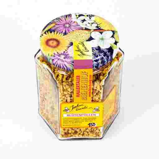 Pollen Deutschland: Blütenpollen Deutschland kaufen vom Imker, zu sehen ist ein farbenfrohes Glas frischer Blütenpollen aus Deutschland, mit buntem artenreichen Pollen von Wildpflanzen, aus regionaler Imkerei.
