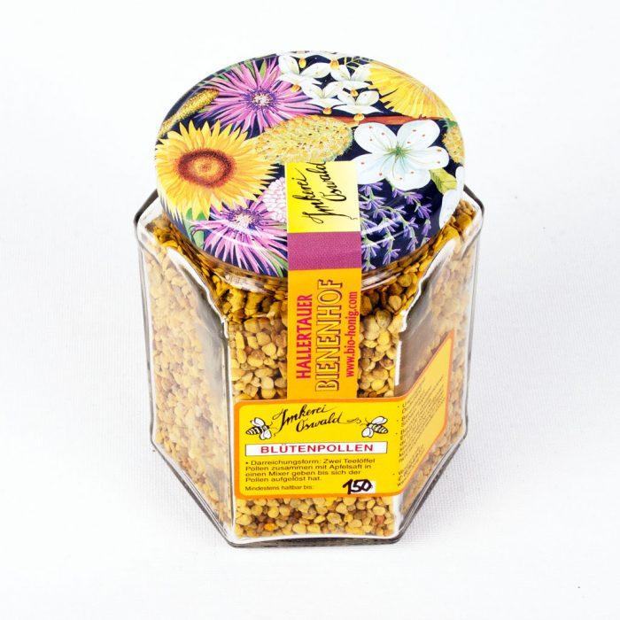 Pollen Deutschland 2018: Blütenpollen Deutschland kaufen vom Imker, zu sehen ist ein farbenfrohes Glas frischer Blütenpollen aus Deutschland, mit buntem artenreichen Pollen von Wildpflanzen, aus regionaler Imkerei.