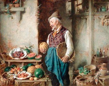 Ein freundlicher alter Mann mit weißem Bart, Hut, bunter Weste und Krawatte, der eine Korb unter dem Arm hält betritt eine Speisekammer, die mit Kurbissen, Melonen, und Weinfässern locker bestückt ist.,