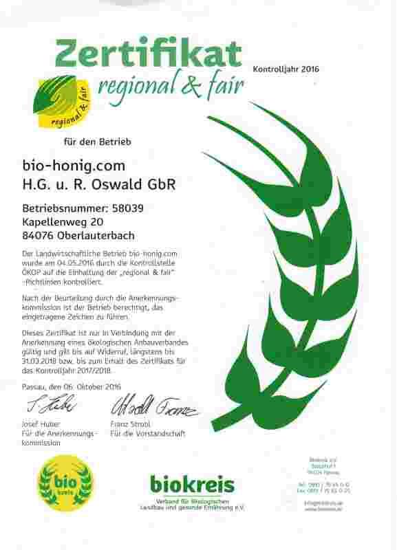 Zertifikat regional und fair von Imkerei Oswald bio-honig.com.