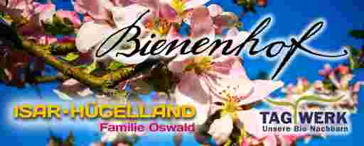 Banner vom Onlineshop bio-honig.com, es zeigt leuchtend rosa Apfelblüten und einen Schriftzug des Kunstmalers Bernhard Kühlewein, gezeichnet mit der Gänsefeder, außerdem das Tagwerk Logo.