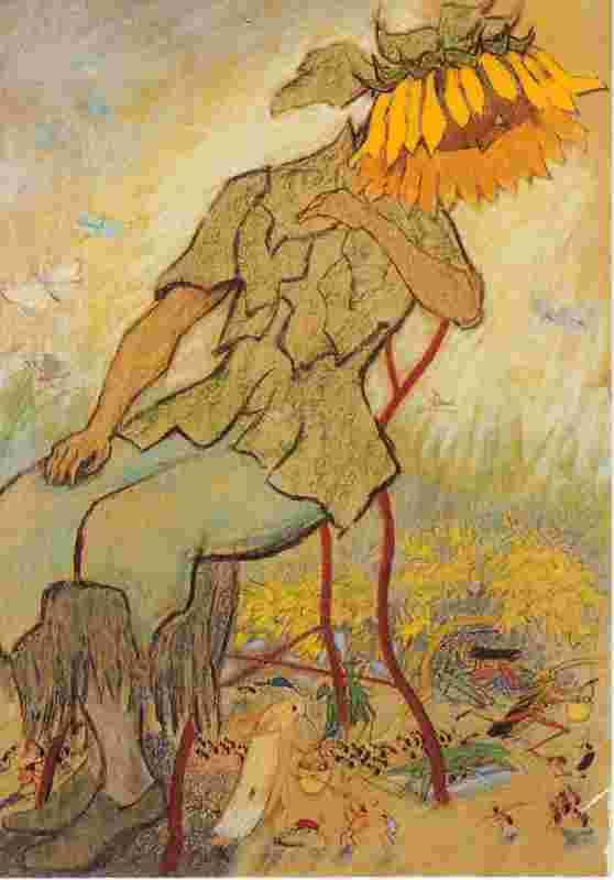"""Eine Kunstpostkarte mit einem Werk von dem Kinderbuchillustrator Ernst Kreidolfs Werk """"Frau Sonnenblume""""."""