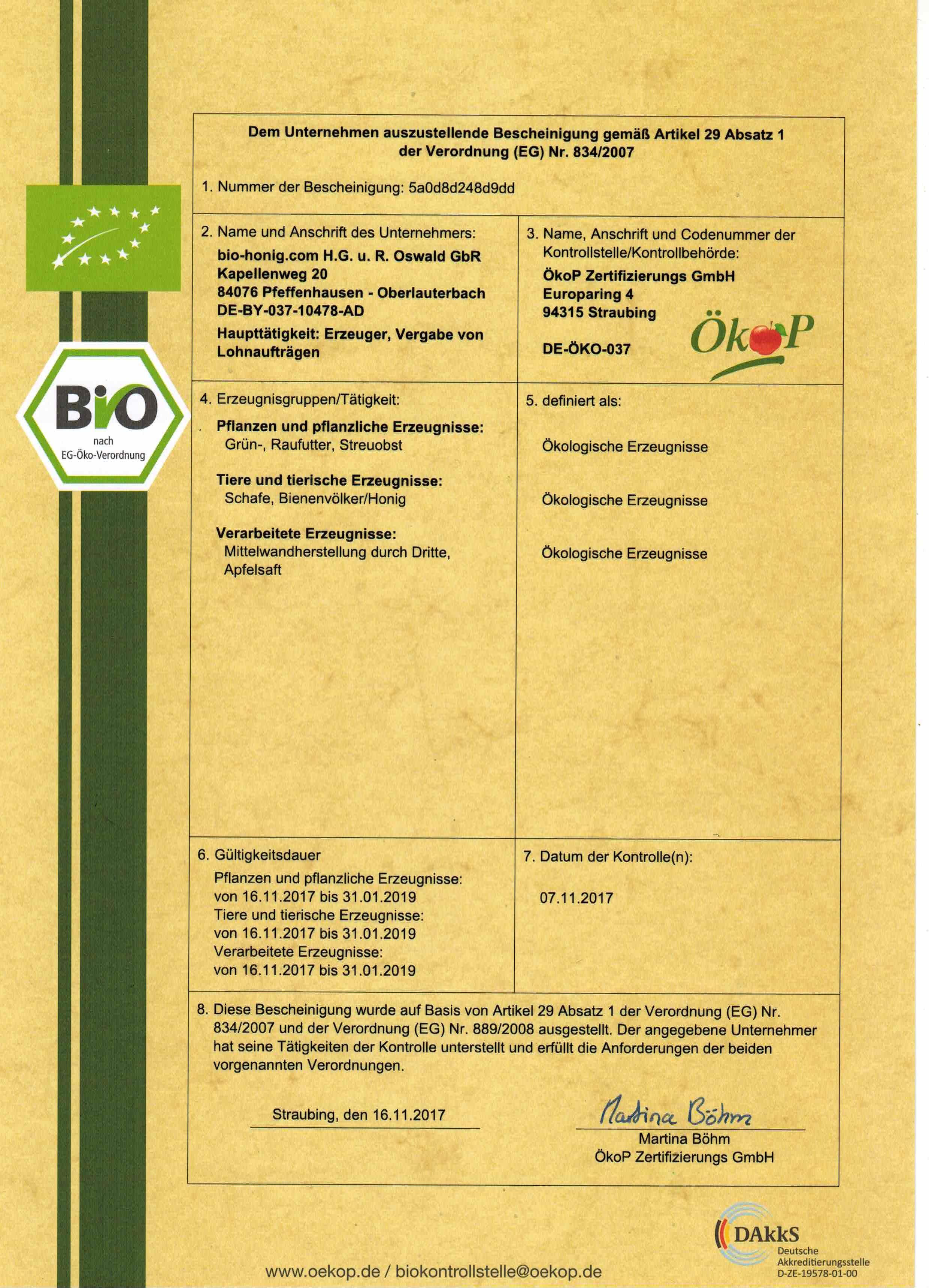 Öko-Bescheinigung gemäß Artikel 29 Absatz 1 der Verordnung (EG) Nr. 834/2007