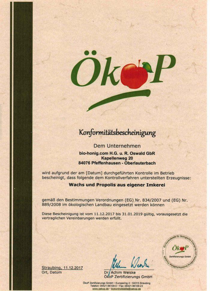 ÖKO-Bescheinigung für Wachs