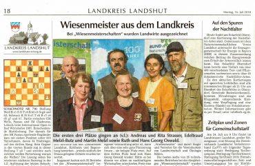 Zeitungsauschnitt über die Blumenwiesen Wiesenmeisterschaft.