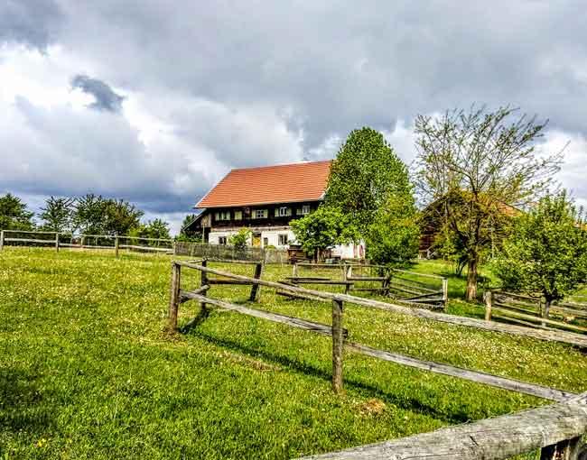 Altes Bauernhaus aus Holz mit handgehauenen Balken, umgeben von Blühwiesen und einem Koppelzaun für Schafe.