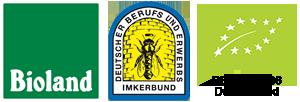 Bioland, DBIB und DE-ÖKO-006 Deutschland Logos