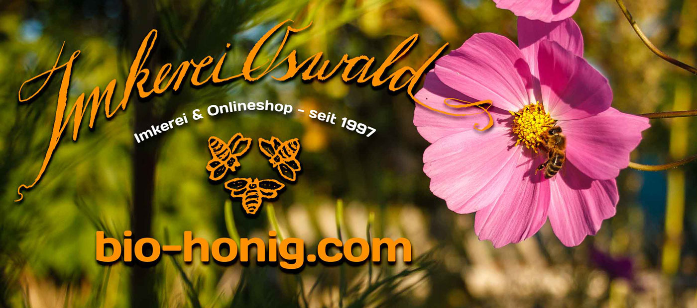 A honey bee sitting on a pink flower with the Imkerei Oswald logo super imposed.