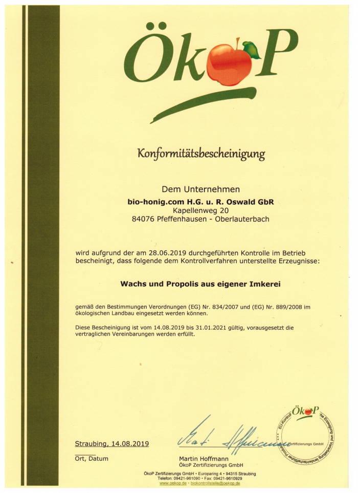 Ein Öko-Qualitäts-Zertifikat für Propolis und Bienenwachs aus Imkerei-Oswald´s eigener Bienenhaltung