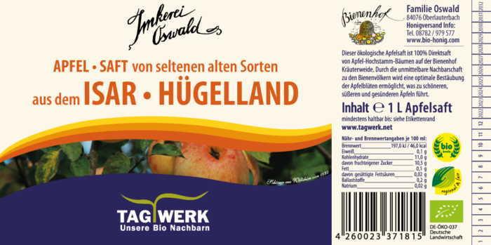 Apfelsaft-Etikett