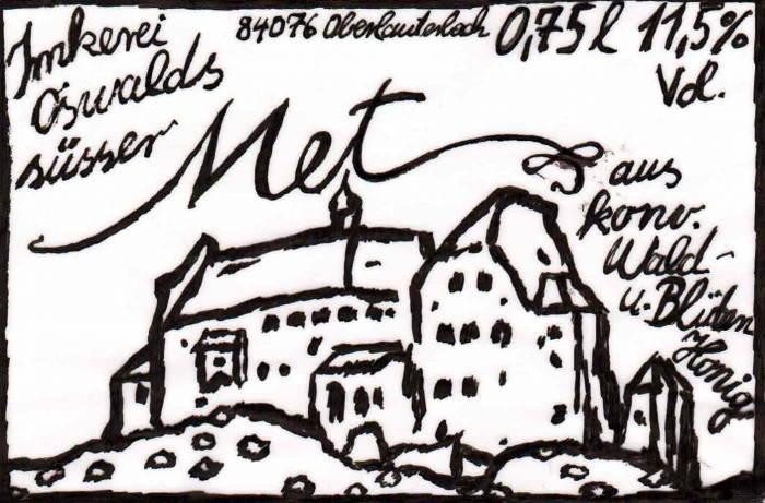 Handgezeichnetes Etikett (Bernhard Kühlewein, ergänzt von Hans Georg Oswald) für eine Flasche Honigwein.