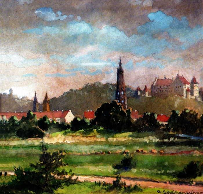 Ein Aquarell von dem Landshuter Maler Rudolf Scheibenzuber, welches die Klötzlmühle darstellt.