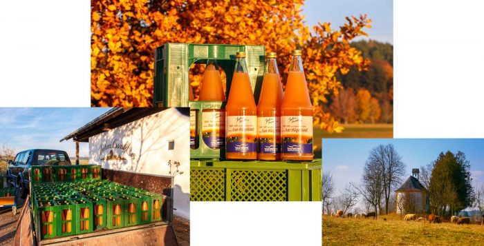 Apfelsaft direkt vom Hof aus einer schönen Landschaft.