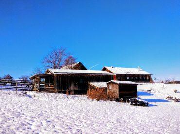 Die Imkerei Oswald ist in eine glitzernden Schneedecke gehüllt.