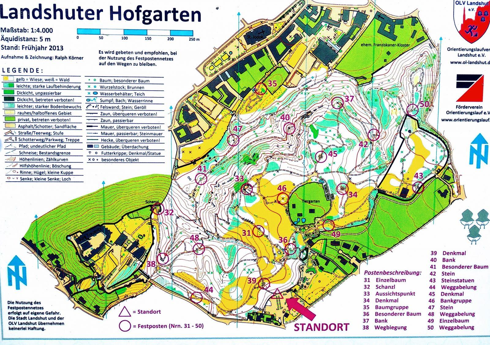 Eine Karte vom Landshuter Hofgarten.