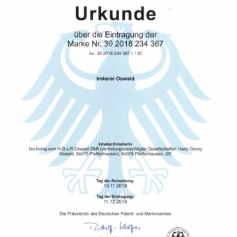 Eine Urkunde mit den Bundesfarben, dem Bundesadler und dem Amtssiegel.